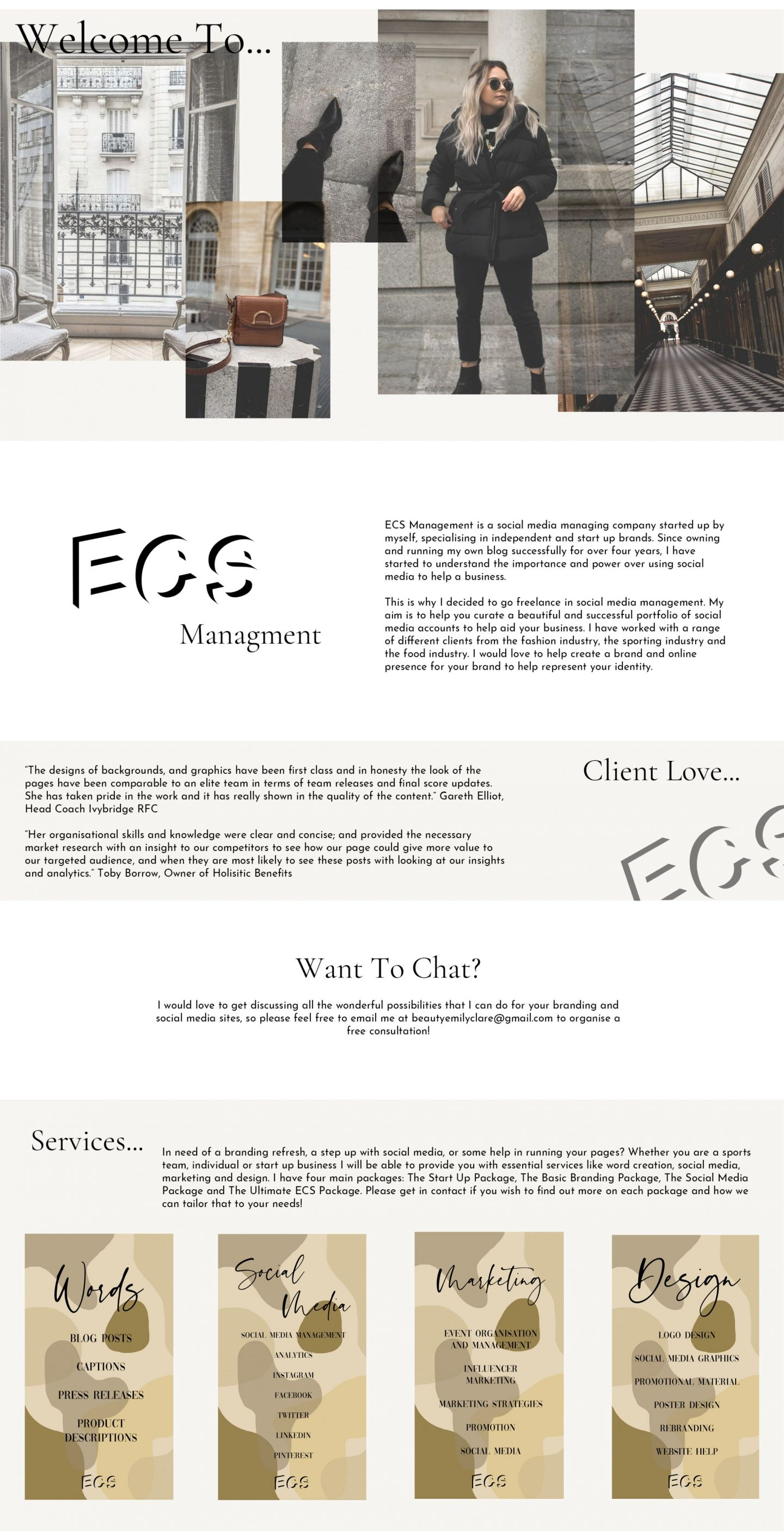 ECS Management is a social media managing company started up by myself, specialising in independent and start up brands.