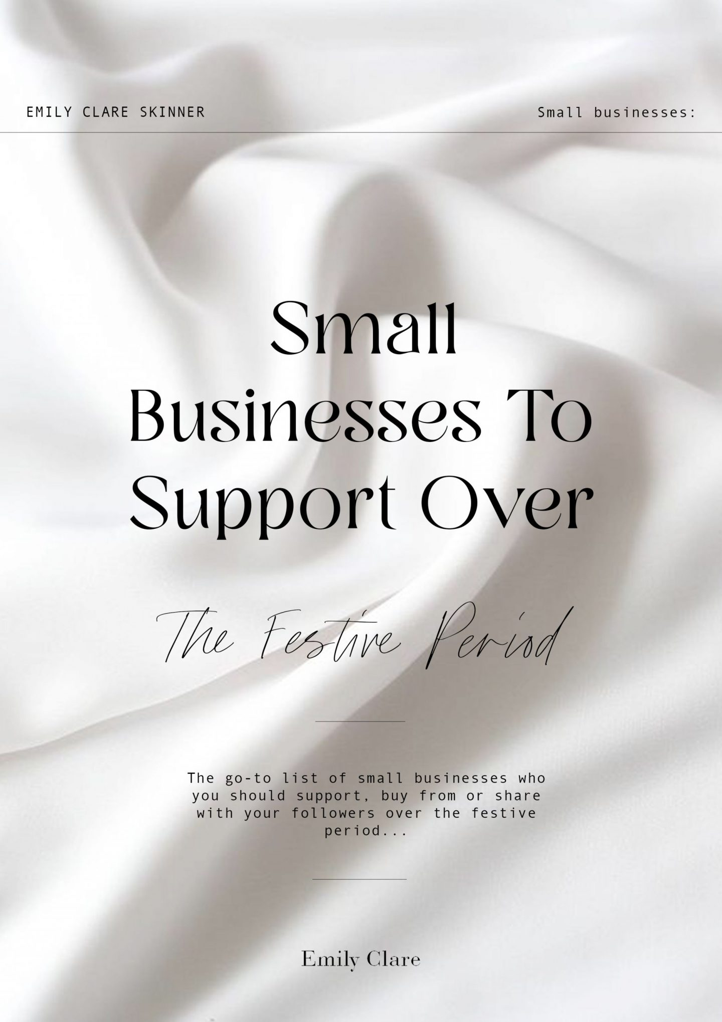 The go-to list of small businesses who you should support, buy from or share with your followers over the festive period...